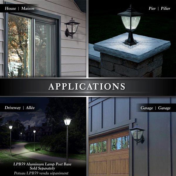Classy Caps Elegante Aluminum Black 17-in x 8-in Solar Lamp