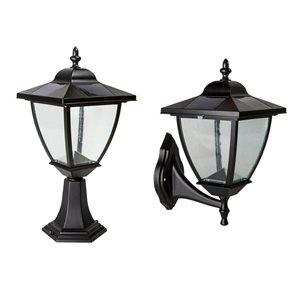 Elegante Aluminum Black 17-in x 8-in Solar Lamp