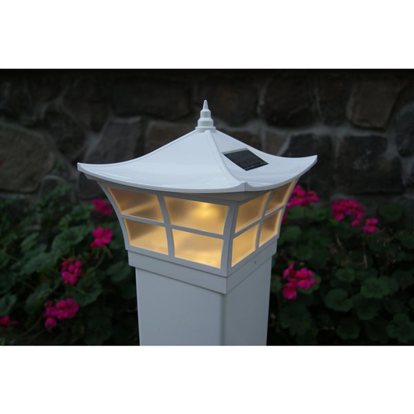 Ambience 5-in x 5-in  PVC White Solar Post Cap