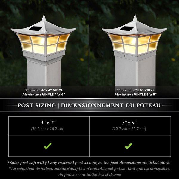 """Capuchon de poteau solaire Ambience, PVC, blanc, 5"""" x 5"""""""