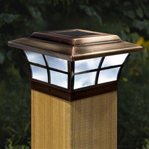 """Capuchon de poteau solaire Prestige, plaqué cuivre, 6"""" x 6"""""""
