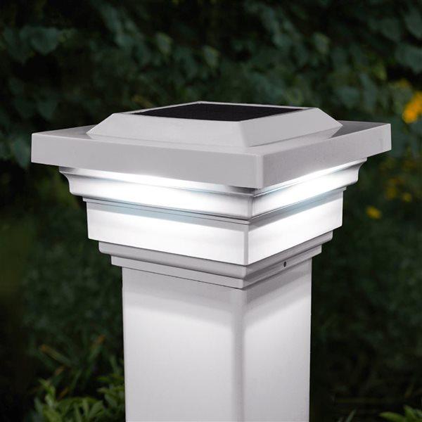 """Capuchon de poteau solaire Regal, PVC, blanc, 4"""" x 4"""""""