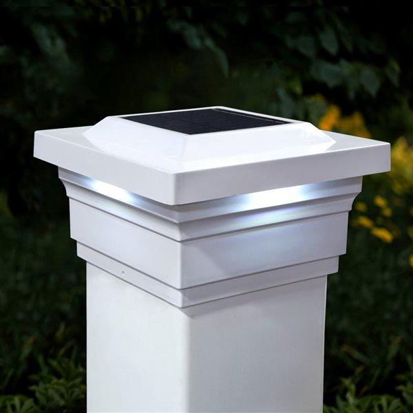 """Capuchon de poteau solaire Majestic, PVC, blanc, 5"""" x 5"""""""