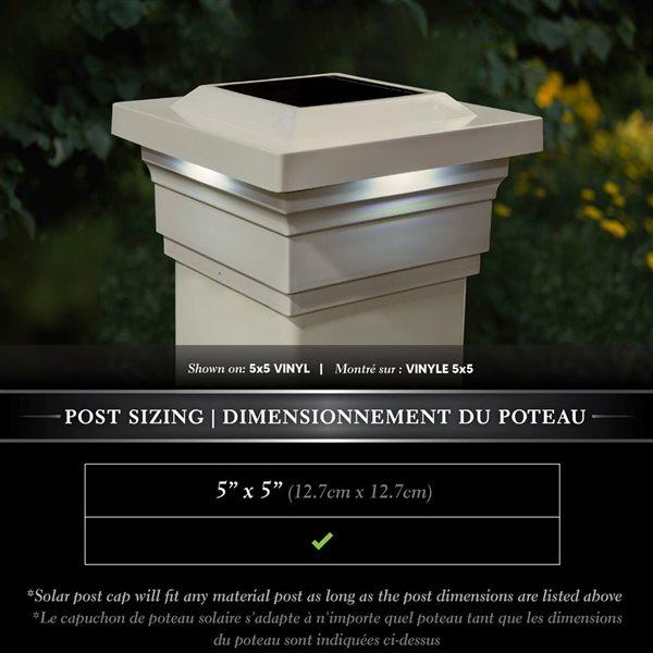 """Capuchon de poteau solaire Majestic, PVC, beige, 5"""" x 5"""""""