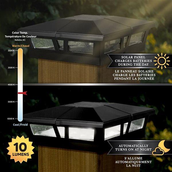 """Capuchon de poteau solaire Cambridge, aluminium, noir,6""""x6"""""""