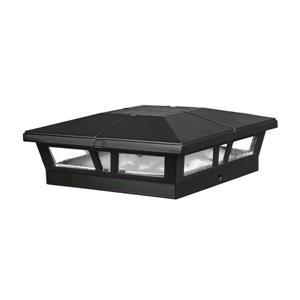 Cambridge 6-in x 6-in Black Aluminum Solar Post Cap