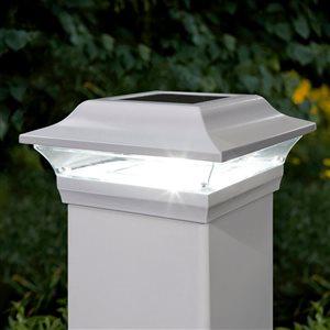 """Capuchon de poteau solaire Impérial, aluminium, blanc,5""""x 5"""""""