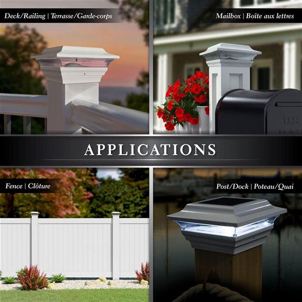 Classy Caps Imperial White Aluminum 4-in x 4-in Solar Post Cap