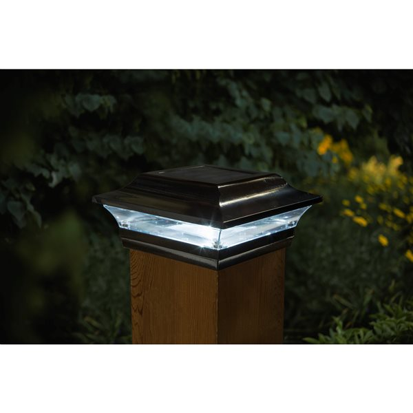 Classy Caps Imperial Solar Post Cap Black Aluminium 5-in x 5-in