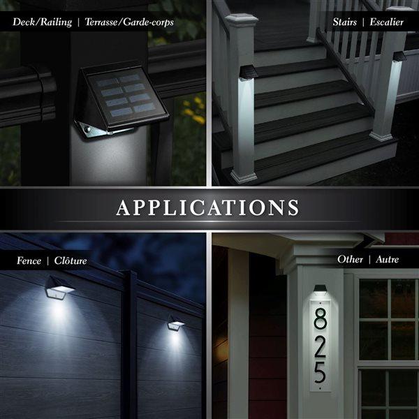 Classy Caps Black Aluminum Solar Deck and Wall Light