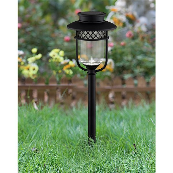 Classy Caps Black Stainless Steel Solar Landscape Path and Garden Lights (Set of 2)