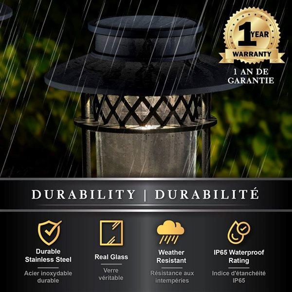 Lumière solaire de jardin et sentier, acier inxydable, noir
