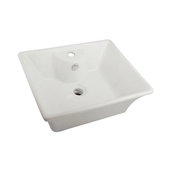 Elements of Design Forte White Vessel Rectangular Bathroom Sink with Overflow