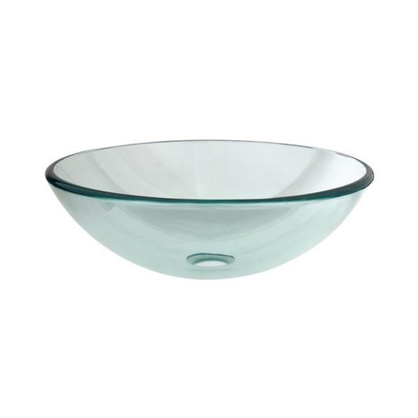 Elements of Design Fauceture Crystal Clear Glass Vessel Round Bathroom Sink