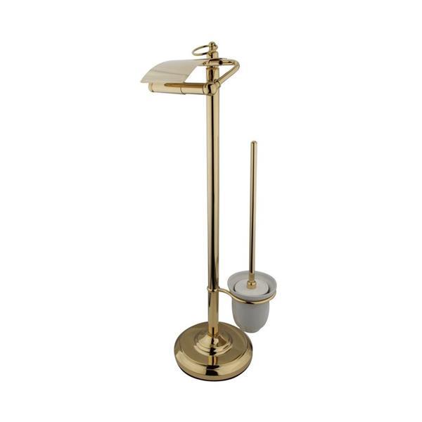 Elements of Design Vintage Polished Brass Freestanding Spring-Loaded Toilet Paper Holder