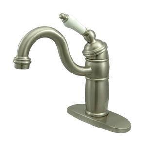 Elements of Design Hot Springs Satin Nickel  9-in Lever-Handle Deck Mount High-Arc Kitchen Faucet