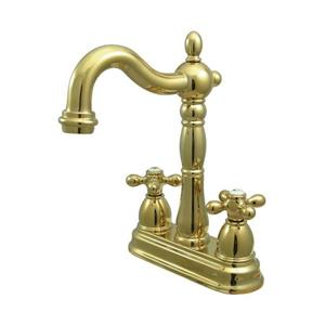 Elements of Design New Orleans Polished Brass 9-in Cross-Handle Deck Mount Bridge Kitchen Faucet