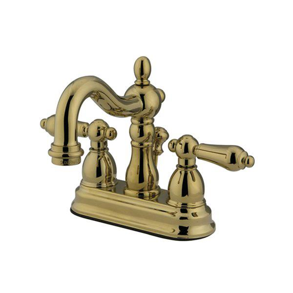 Elements of Design New Orleans 6.25-in  Polished Brass Metal Lever Handle Centerset Bathroom Faucet (Drain Included)
