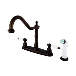 Elements of Design New Orleans Oil-Rubbed Bronze 10.5-in 2-Lever Handle Deck Mount High-Arc Kitchen Faucet with Sprayer