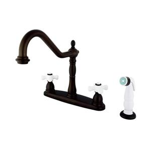 Elements of Design New Orleans Oil-Rubbed Bronze 9-in 2-Lever Handle Deck Mount High-Arc Kitchen Faucet with Sprayer