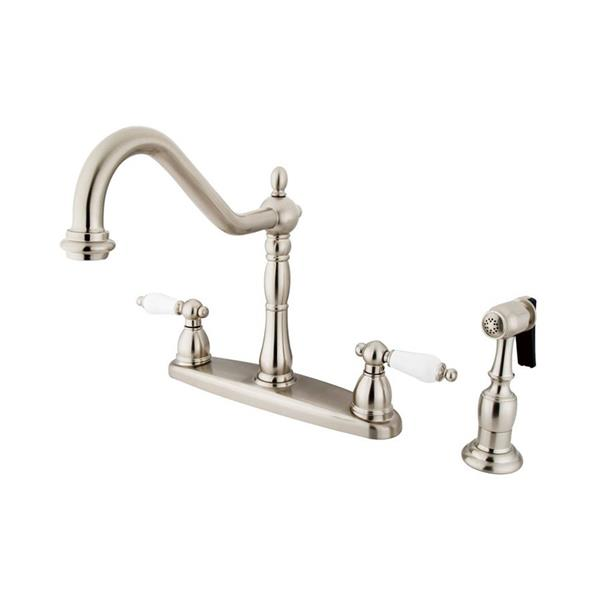 Elements of Design New Orleans Satin Nickel 9-in 2-Level Handle Sink Mount High-Arc Kitchen Faucet with Sprayer