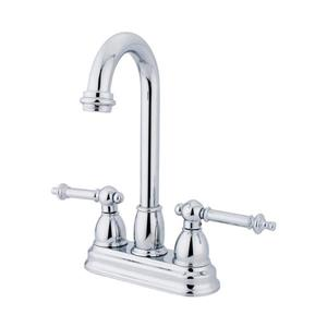 Elements of Design Chicago Chrome 10-in 2-Lever Handle High-Arc Deck Mount Kitchen Faucet