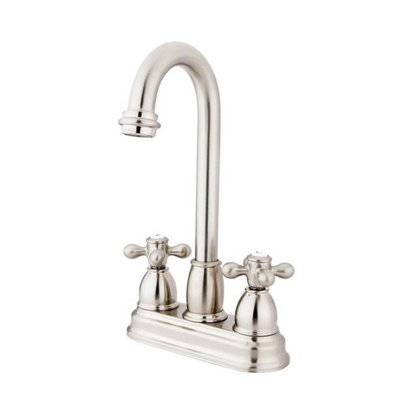 Elements of Design Chicago Satin Nickel 10-in 2-Cross Handle High-Arc Deck Mount Kitchen Faucet