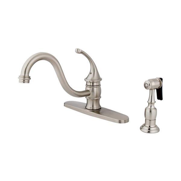 Elements of Design Georgian Satin Nickel 7.5-in Lever Handle Deck Mount Low-Arc Kitchen Faucet with Sprayer