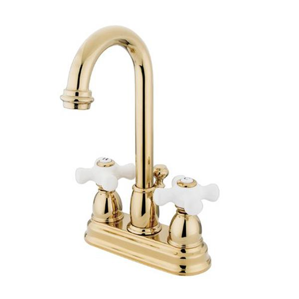 Elements of Design Chicago Polish Brass 2 Handle 4 in Centerset Deck Mount Bathroom Faucet with Drain