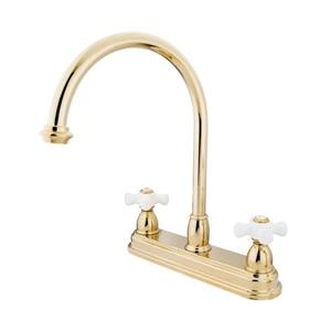 Elements of Design Chicago Polished Brass 12-in 2-Cross Handle High-Arc Deck Mount Kitchen Faucet