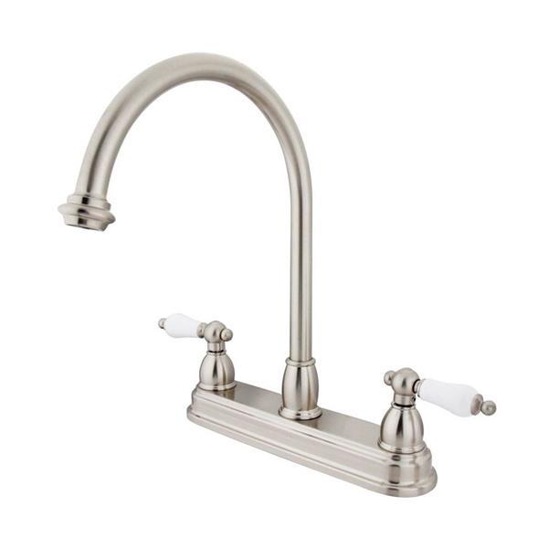 Elements of Design Chicago Satin Nickel 12-in 2-Lever Handle High-Arc Deck Mount Kitchen Faucet