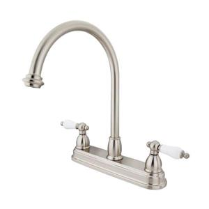 Elements of Design Chicago Satin Nickel 12-in 2-Lever Handle High-Arc Deck Mount Kitchen Faucet