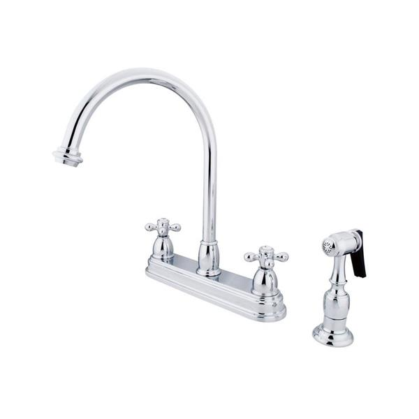 Elements of Design Chicago Chrome 12-in 2-Cross Handle High-Arc Deck Mount Kitchen Faucet with Sprayer