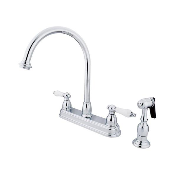Elements of Design Chicago Chrome 12-in 2-Lever Handle High-Arc Deck Mount Kitchen Faucet with Sprayer