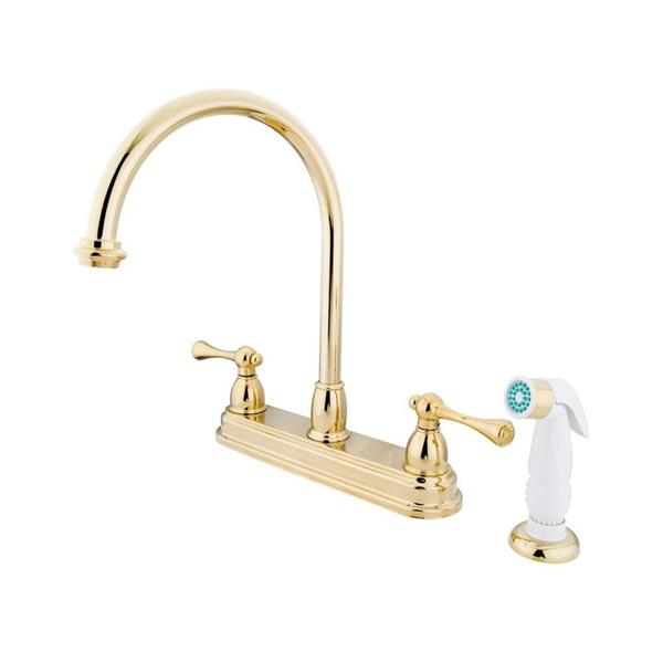 Elements of Design St. Louis Polished Brass 12-in Lever-Handle Deck Mount High-Arc Kitchen Faucet with White Sprayer