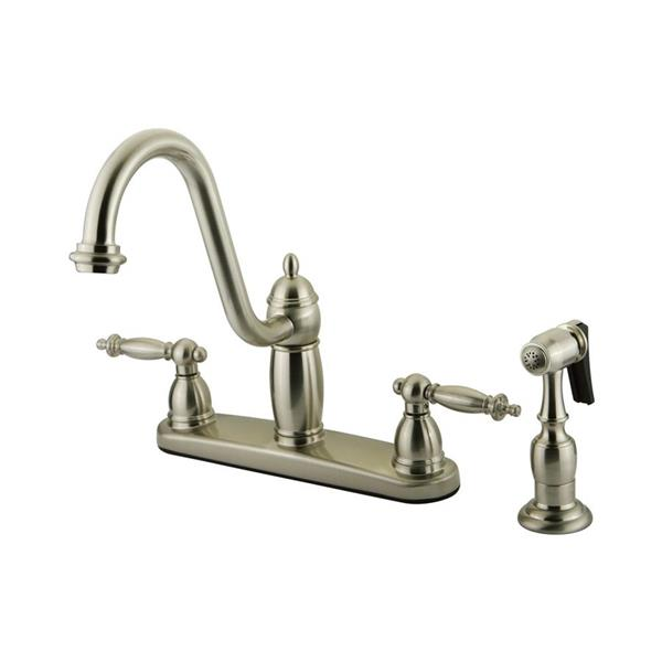 Elements of Design Templeton Satin Nickel 10-in 2-Lever Handle Deck Mount High-Arc Kitchen Faucet with Sprayer