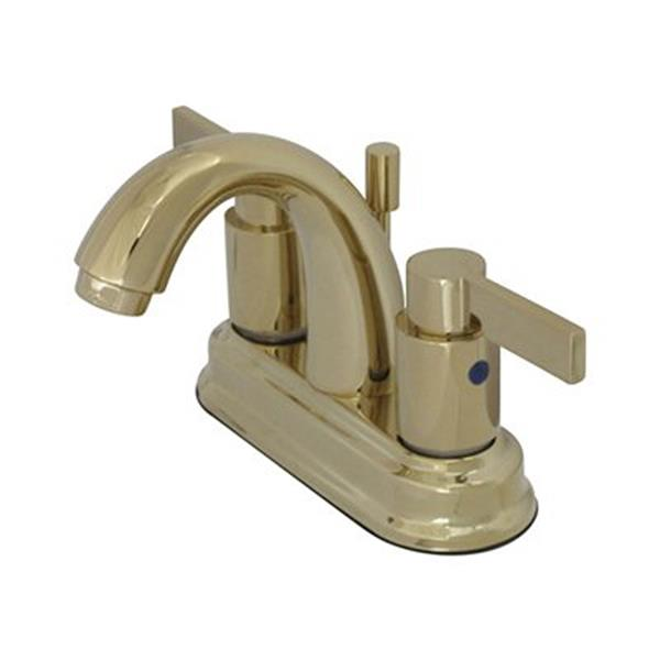 Elements of Design Nuvofusion Polished Brass 2-Handle 4-in Centerset Deck Mount Bathroom Faucet with Drain