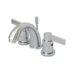 Elements of Design NuvoFusion Polished Chrome 2-Handle 4-in Mini Widespread Deck Mount Bathroom Faucet with Drain