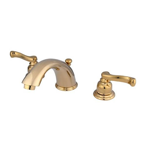 Elements of Design Polished Brass Twin Handles Widespread Deck Mount Bathroom Faucet with Drain
