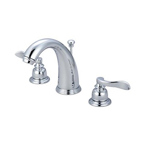 Elements of Design NuWave French Polished Chrome 2-Handle Widespread Deck Mount Bathroom Faucet with Drain