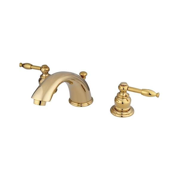 Elements of Design Polished Brass 2-Handle Widespread Deck Mount Bathroom Faucet With Drain
