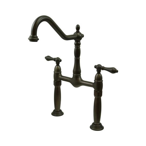 Elements of Design Victorian Dark Bronze 2-Handle Widespread Deck Mount Bathroom Sink Faucet