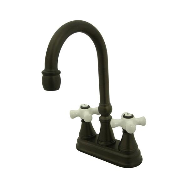 Elements of Design Oil-Rubbed Bronze 9.4-in Cross-Handle Deck Mount High-Arc Kitchen Faucet