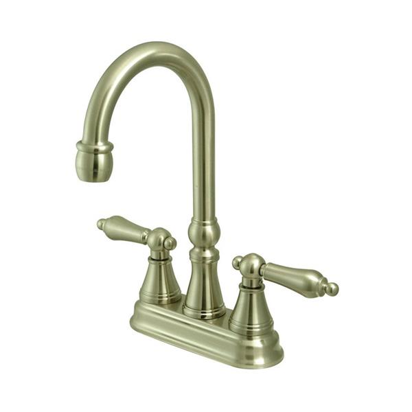 Elements of Design Satin Nickel Metal Lever Handle Deck Mount Bar and Prep Kitchen Faucet