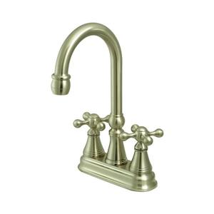 Elements of Design Satin Nickel Knight Cross Handle Deck Mount Bar and Prep Kitchen Faucet