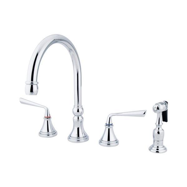 Elements of Design Silver Sage Chrome 2-Handle Deck Mount High-Arc Kitchen Faucet With Sprayer