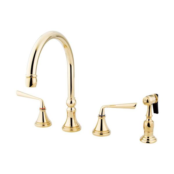 Elements of Design Silver Sage Polished Brass 2-Handle Deck Mount High-Arc Kitchen Faucet With Sprayer