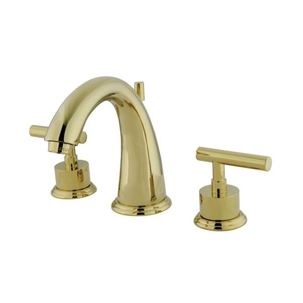 Elements of Design Manhattan Polished Brass Metal Lever Handle Widespread Bathroom Sink Faucet