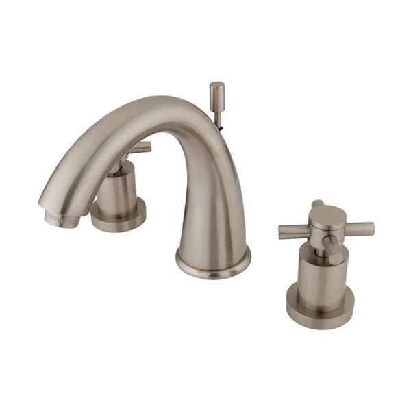 Elements of Design Concord Satin Nickel Concord Cross Handle Widespread Bathroom Sink Faucet