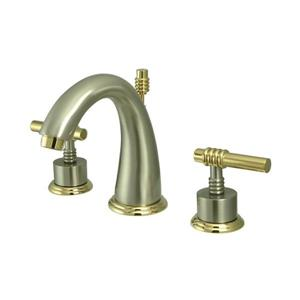 Elements of Design Satin Nickel/Polished Brass Metal Lever Handle Widespread Bathroom Sink Faucet